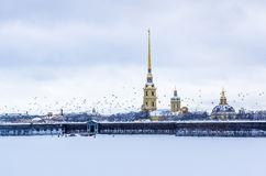 View on Peter and Paul Fortress in Saint-Petersburg, Russia Royalty Free Stock Image