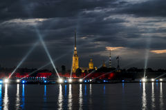 View of the Peter and Paul fortress in St. Petersburg at evening Royalty Free Stock Photography