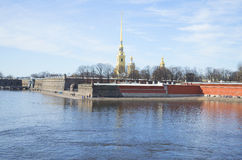 View of the Peter and Paul fortress on a Sunny March day. Saint-Petersburg Royalty Free Stock Photography