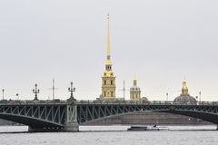 View of the Peter and Paul Fortress and Trinity Bridge, St.Petersburg. Stock Image