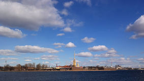 St. Petersburg, View of the Peter and Paul Fortress. View of the Peter and Paul Fortress and the vast sky Royalty Free Stock Images