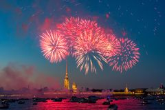 Peter And Paul Fortress with Victory Day fireworks. View of Peter And Paul Fortress with Victory Day fireworks. Petersburg royalty free stock photo