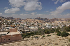 View from Petra town to archeological site Petra. Petra is a historic and archaeological city in the Jordanian governorate of Ma'an that has rock cut Stock Photos