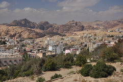 View from Petra town to archeological site Petra. Petra is a historic and archaeological city in the Jordanian governorate of Ma'an that has rock cut Royalty Free Stock Photo