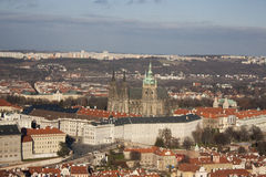 View from Petrin hill Prague and St. Vitus Cathedral Stock Photo