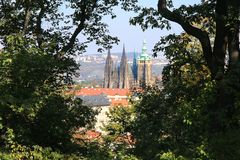 St. Vitus Chatedrale. The View from Petrin Hill on St. Vitus Metroploital Chatedral in Prague, Czech Republic royalty free stock images