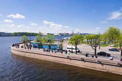 View of Petrograd embankment from cruiser Royalty Free Stock Photography
