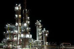 View of petrol production factory. Night view of petrol production factory royalty free stock photo