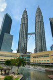View of Petronas Towers and fountain Royalty Free Stock Photos