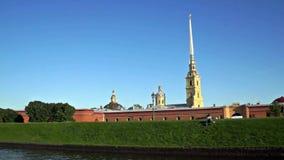 View of Petropavlovskaya fortress from Neva river stock video footage