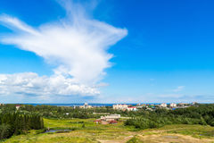 View of Petrozavodsk city in summer. View of Petrozavodsk in the summer from the part of the micro district Drevlyanka Stock Photo