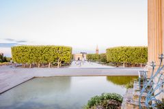 Montpellier city in France. View on the Peyrou gardens with fountain during the evening light in Montpellier city in southern France royalty free stock photography