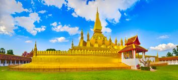 View of the Pha That temple. Vientiane, Laos. Panorama Royalty Free Stock Photos