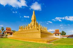 View of the Pha That temple. Vientiane, Laos. Panorama Stock Photos