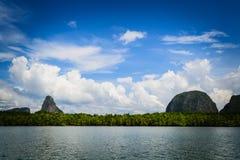View of phang nga bay. The quietness among the great mountain and the beauty of the sky at Pang-nga bay Stock Photography
