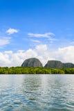 View of phang nga bay. The quietness among the great mountain and the beauty of the sky at Pang-nga bay Royalty Free Stock Image