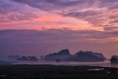 View of Phang Nga bay from Samet Nangshe viewpoint. Thailand Royalty Free Stock Photos