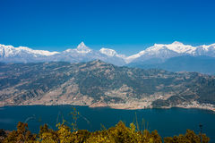 View of Phewa lake and Annapurna mountain  range Royalty Free Stock Images