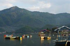 View of Phewa lake at Pokhara, Nepal Stock Photo
