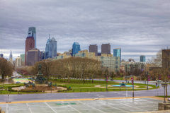 A view of Philadelphia City center,blossoms in foreground Stock Image