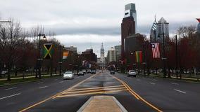 A view of Philadelphia, Pennsylvania looking toward the city center stock video footage