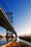 View of Philadelphia's Ben Franklin bridge Royalty Free Stock Photos