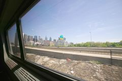 View of Philadelphia skyline from moving Amtrak train, Philadelphia, Pennsylvania Royalty Free Stock Image