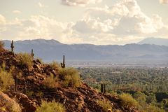 View of Phoenix and Tempe from Camelback Mountain in Arizona, stock image