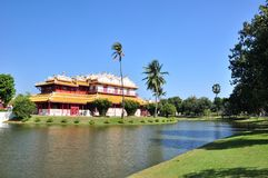 View of Phra Thinang Wehart Chamrun in Bang Pa-In. Royal summer residence nera Ayutthaya,Thailand Royalty Free Stock Images