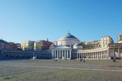 View of Piazza del Plebiscito, Naples, Campania, Italy royalty free stock photos
