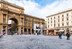 View of Piazza della Repubblica in Florence Royalty Free Stock Images