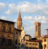 Palazzo Vecchio - Florence. View of the buildings around piazza della signoria Royalty Free Stock Photo