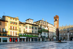 View of Piazza delle Erbe in Verona (Italy) in early morning Stock Photos