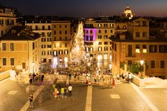 View of Piazza di Spagna and central Rome at night from the Spanish Steps Stock Image