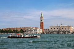 View of Piazza San Marco with Campanile, Palazzo Ducale and Biblioteca in Venice, Italy. These buildings are the most recognizable symbols of the city royalty free stock photo