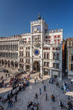 View on Piazza San Marco and Clock Tower from San Marco Cathedra Royalty Free Stock Photo