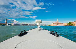 View of Piazza San Marco and San Giorgio Maggiore from ship. Stock Photo