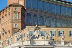 Vatican City, Vatican State. Detail of Sait Peter square. royalty free stock image