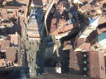 View of Piazza from Tower in Bologna, Italy Royalty Free Stock Photography