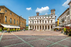 View of piazza Vecchia, Bergamo Stock Photos