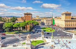 View on Piazza Venezia from the Altar of the Fatherland in Rome royalty free stock photos