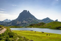View of the Pic du Midi d`Ossau in the French Pyrenees. A view of the Pic du Midi d`Ossau in the French Pyrenees Stock Images