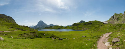 View of the Pic du Midi d`Ossau in the French Pyrenees with lake Stock Image