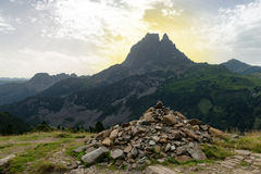 View of the Pic du Midi d`Ossau in the French Pyrenees. View of mountain the Pic du Midi d`Ossau in the French Pyrenees Royalty Free Stock Photography