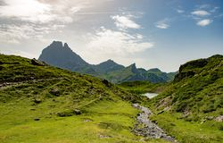 View of the Pic du Midi d`Ossau in the French Pyrenees. View of mountain the Pic du Midi d`Ossau in the French Pyrenees Stock Image