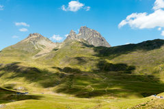 View of the Pic du Midi d`Ossau in the French Pyrenees. View of mountain the Pic du Midi d`Ossau in the French Pyrenees Royalty Free Stock Photos
