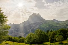 View of the Pic du Midi d`Ossau in the French Pyrenees. A view of the Pic du Midi d`Ossau in the French Pyrenees Stock Photos