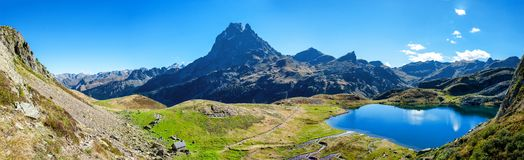 View of Pic Du Midi Ossau in autumn, France, Pyrenees stock images