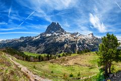 View of Pic du Midi Ossau in springtime, french Pyrenees royalty free stock photos