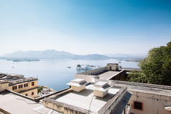 View on the Pichola lake and Palas, Udajpur, India Stock Photos